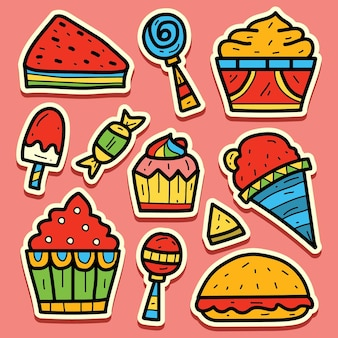 Diseño de etiqueta de doodle de comida de dibujos animados dibujados a mano