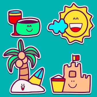 Diseño de etiqueta de doodle de playa