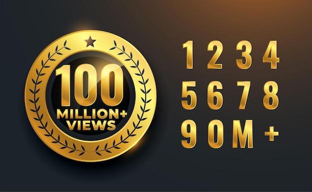 Diseño de etiqueta dorada de celebración de 100 millones o 100 millones de visitas