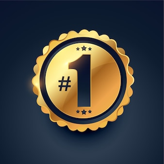 Diseño de etiqueta dorada ganador del premio número uno