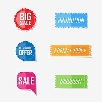 Diseño de etiqueta de elementos planos de oferta de banner