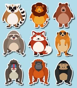 Diseño de la etiqueta engomada para los animales salvajes
