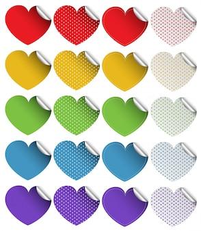 Diseño de la etiqueta engomada en formas del corazón