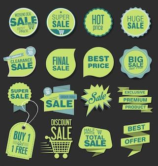 Diseño de etiqueta, etiqueta o distintivo de descuento de venta