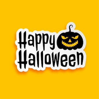 Diseño de etiqueta de feliz halloween en estilo plano