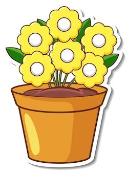 Diseño de etiqueta con flores amarillas en una maceta aislada