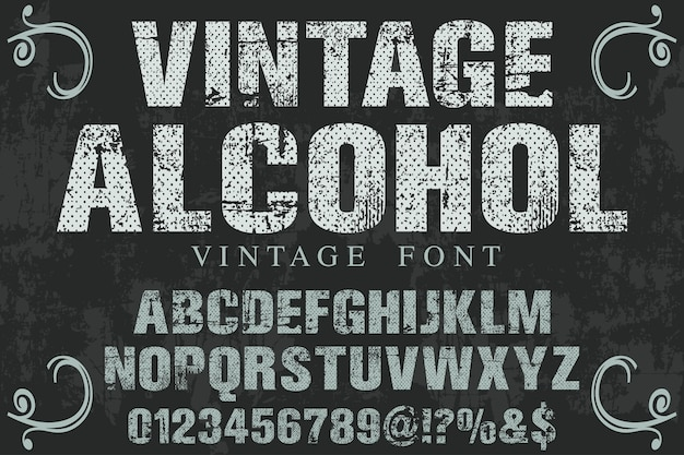 Diseño de etiqueta de fuente de alcohol vintage