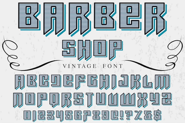Diseño de etiqueta de fuente vintage peluquería