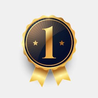 Diseño de etiqueta de ganador número uno del primer lugar
