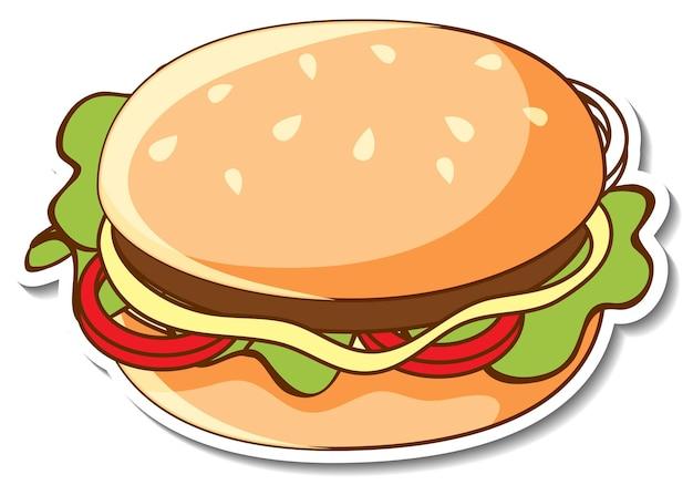 Diseño de etiqueta con una hamburguesa aislada.