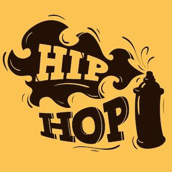 Diseño de etiqueta de hip hop con una silueta de globo de aerosol.