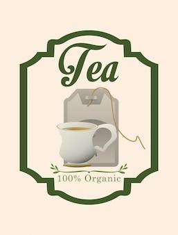 Diseño de etiqueta de la hora del té