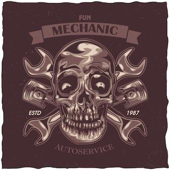 Diseño de etiqueta con ilustración de cráneo mecánico.