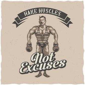Diseño de etiqueta con ilustración de deportista vintage