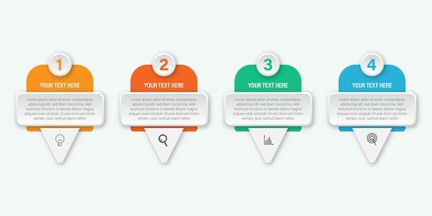 Diseño de etiqueta de infografía moderna para negocios, concepto de infografía con icono Vector Premium