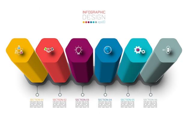 Diseño de etiqueta de infografía vectorial con diseño de columnas hexagonales.