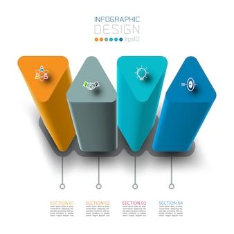 Diseño de etiqueta de infografía vectorial con diseño de columnas triangulares.