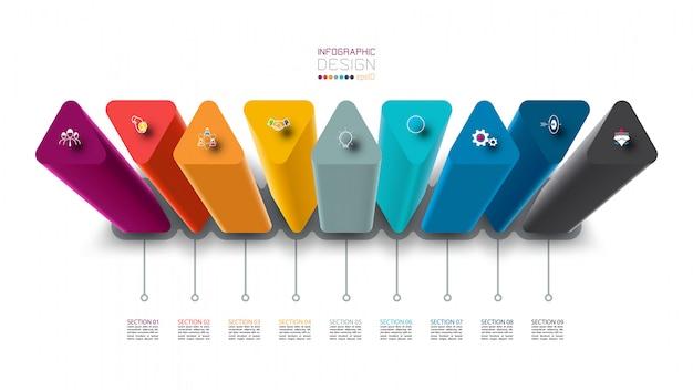 Diseño de etiqueta infográfica con diseño de columnas triangulares.