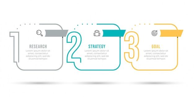 Diseño de etiqueta infográfica con números y 3 opciones o pasos.