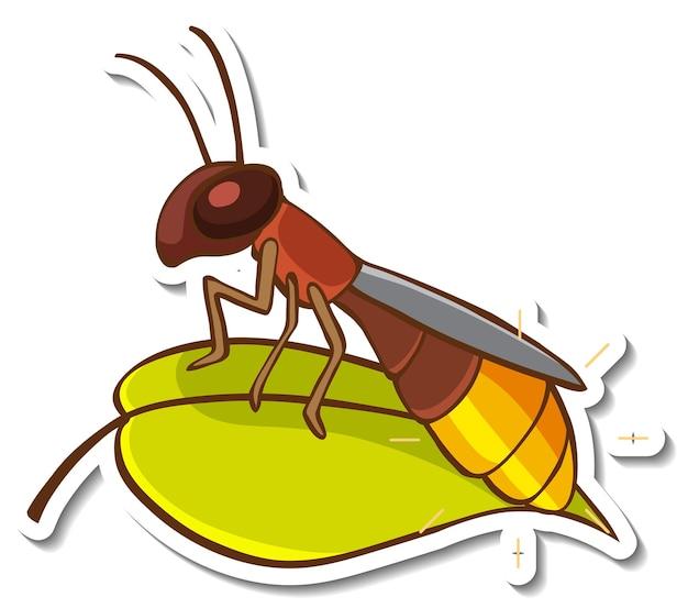 Diseño de etiqueta con insecto en una hoja aislada.