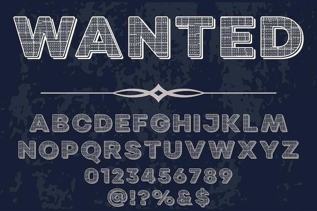 Diseño de etiqueta de letras retro querido