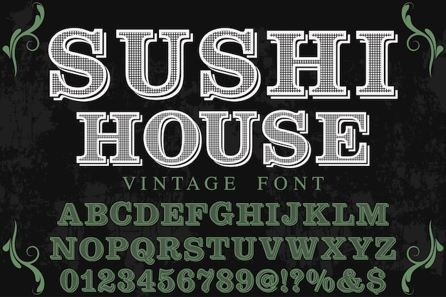 Diseño de etiqueta de letras sushi house