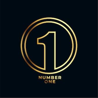 Diseño de etiqueta de logro ganador número uno de estilo de línea