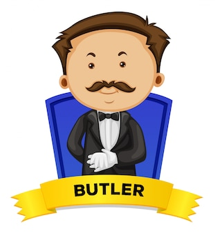 Diseño de etiqueta con mayordomo masculino