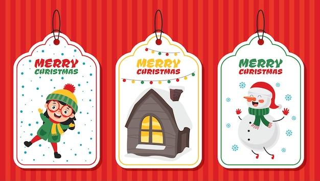 Diseño de etiqueta navideña con personajes de dibujos animados