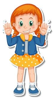 Diseño de etiqueta con una niña mostrando sus manos limpias.