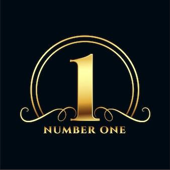 Diseño de etiqueta número uno de oro