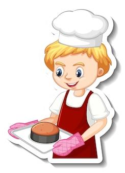 Diseño de etiqueta con panadero sosteniendo bandeja horneada.