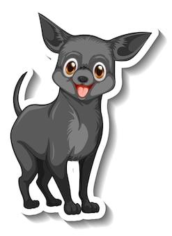 Diseño de etiqueta con perro chihuahua aislado