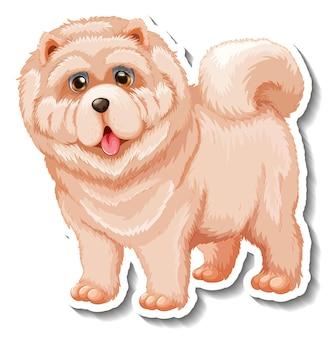 Diseño de etiqueta con perro chow chow aislado