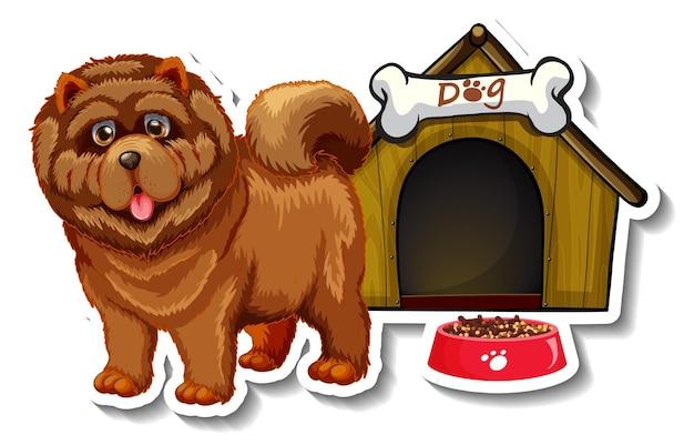 Diseño de etiqueta con perro chow chow parado frente a la casa del perro