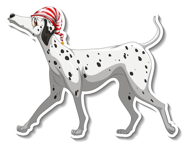 Diseño de etiqueta con perro dálmata aislado