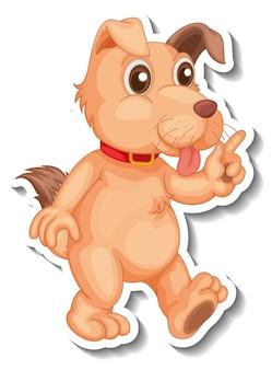 Diseño de etiqueta con un perro en pose de pie aislado