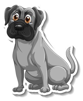 Diseño de etiqueta con un perro pug aislado.