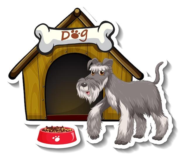 Diseño de etiqueta con perro schnauzer gris de pie frente a la casa del perro