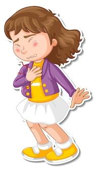 Diseño de etiqueta con un personaje de dibujos animados de dolor en el pecho de niña que siente