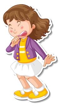 Diseño de etiqueta con un personaje de dibujos animados de niña estornudando.