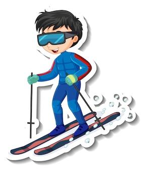 Diseño de etiqueta con un personaje de dibujos animados de niño montando esquí.
