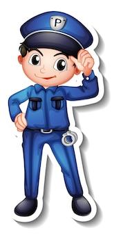 Diseño de etiqueta con un personaje de dibujos animados de policía.