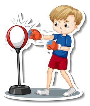 Diseño de etiqueta con un personaje de dibujos animados de saco de boxeo de niño