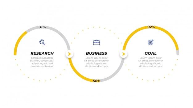 Diseño de etiqueta de plantilla de infografía empresarial con iconos.