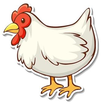 Diseño de etiqueta con un pollo aislado.