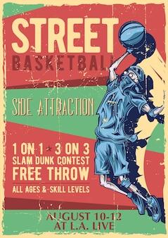 Diseño de etiqueta de póster con ilustración de jugador de streetball.