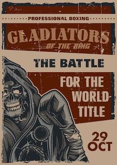 Diseño de etiqueta de póster con ilustración de luchador esqueleto