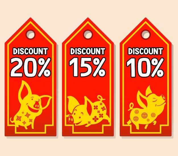 Diseño de etiqueta de precio para la promoción de venta de año nuevo chino.