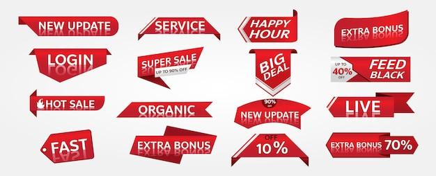 Diseño de etiqueta de promoción de banner rojo para marketing